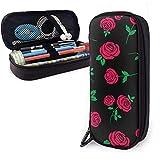 Bolsa de almacenamiento de cuero PU de rosa roja para estudiantes, estuche de...