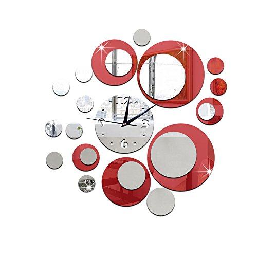 HOT!Liusdh Wanduhren Moderne Kreise Acrylspiegel Stil Wanduhr abnehmbare Aufkleber Kunst Aufkleber Dekor