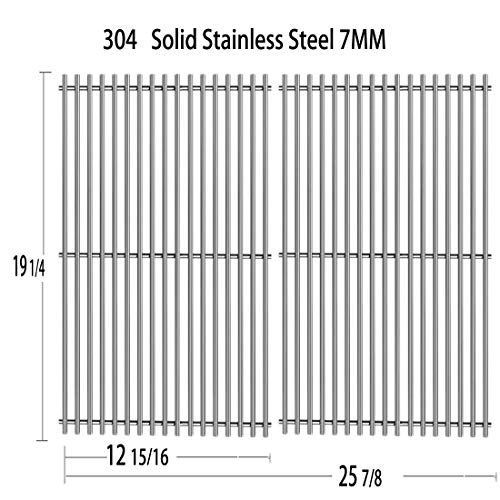 Votenli S563SB (2-Pack) Stainless Steel Cooking Grid Grates Replacement for Select Gas Grill Models by Jenn-Air 720-0336, 720-0163 Nexgrill and Others (19 1/4' x 25 7/8')
