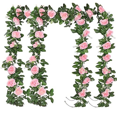 4pcs 220cm Guirlande de Rose Artificielles avec Feuille de Lierre Simulation Rose Fleurs Artificielles à Suspendre Fleur de Rose Guirlande Vigne Suspendue pour Mariage Décoration Jardin (Rose)