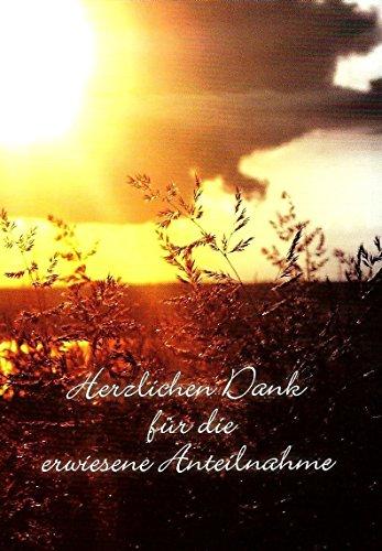 Trauer Danksagungskarten Trauerkarten mit Innentext Motiv Sonnenuntergang Wiese 25 Klappkarten DIN A6 im Hochformat mit weißen Umschlägen Dankeskarten Dankeschön Karten Kuvert Danke Beileid K51