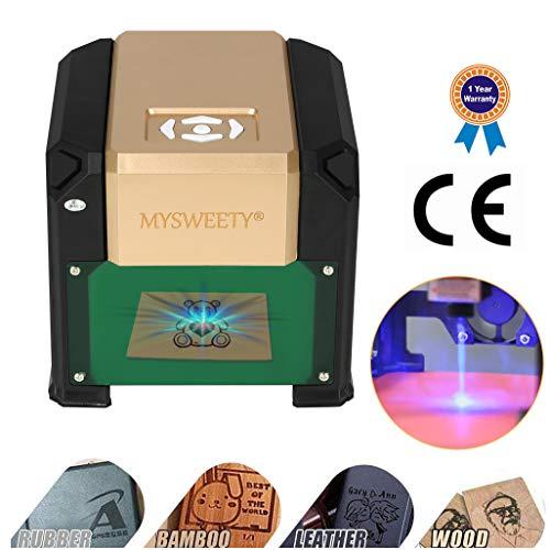 Engraving Machine, MYSWEETY 3000mW Mini Desktop Printer Engraver Machine Working Area 80X80mm for DIY Logo(3000mW)