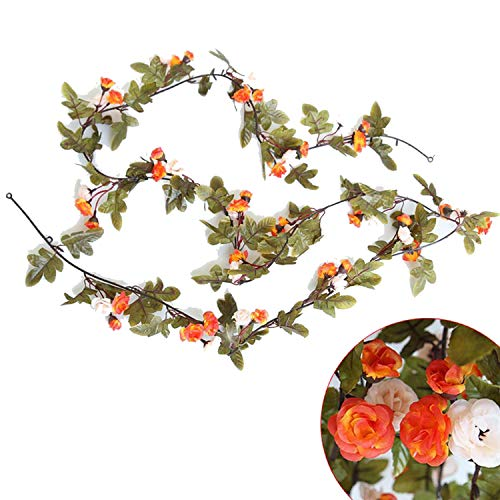 230Cm/ 91In Silk Rose Wedding Decorations Ivy Vine Artificial Flowers Arch Decor with Green Leaves Hanging Wall Garland-A03-5-