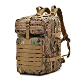 Tactical Backpack Military Waterproof Nylon Assault Pack Army Rucksack 40L (Forest-Digi)