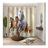 Daesar Pferde 40x60 Fußmatte Badezimme Antischimmel Duschvorhang 180x200 cm, Badezimmerteppich Set 2 Stück