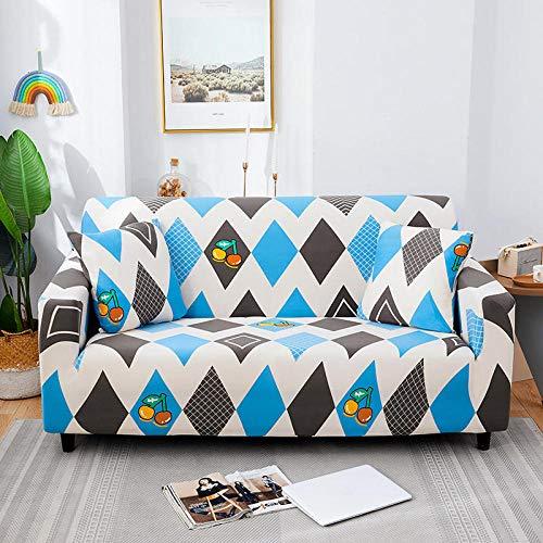 Funda de sofá de 4 Plazas Funda Elástica para Sofá Poliéster Suave Sofá Funda sofá Antideslizante Protector Cubierta de Muebles Elástica Patrón Gris Azul Funda de sofá