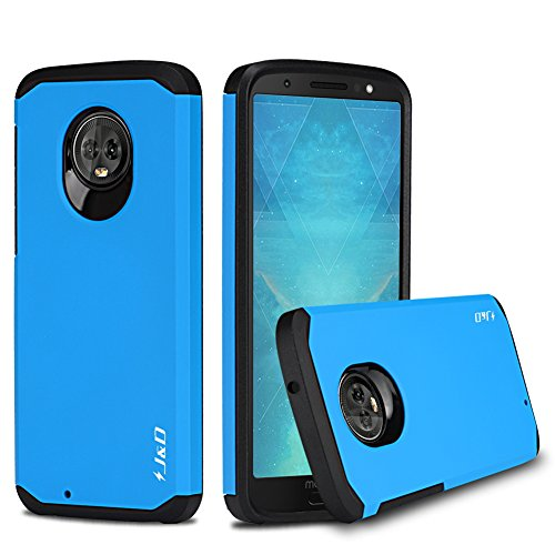 J&D Case Compatible for Moto G6 Case, Heavy Duty [Dual Layer] Hybrid Shock Proof Protective Rugged Bumper Case for Motorola Moto G6 Case – [Not for Moto G6 Plus] - Blue