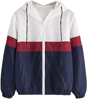 FONMA Women Long Sleeve Top Patchwork Thin Hoodie Hooded Zipper Casual Sport Coat