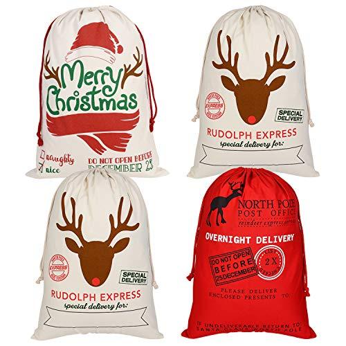 TUPARKA 4 Pezzi Borsa di Natale Renna di Natale Sacco di Babbo Natale Sacco Vintage con Coulisse Borsa di Tela Grande Borsa Regalo di Natale