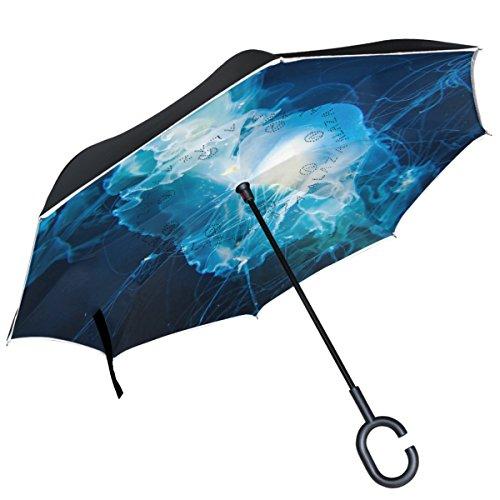 Alaza transparent Quallen Tentakel seitenverkehrt Regenschirm Double Layer winddicht Rückseite Regenschirm