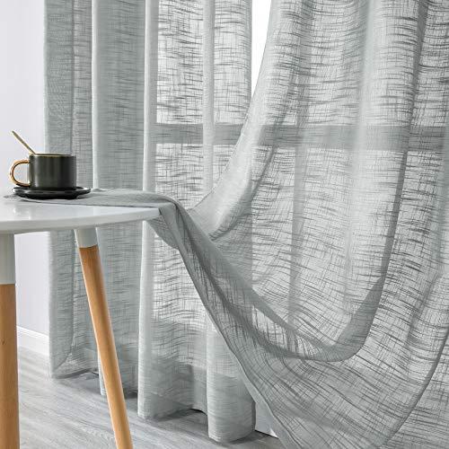 MRTREES Gardinen kurz 2er-Set LeinenVorhang im Modernen Stores Gardinen Schals Grau 225×140 (H×B) für Wohnzimmer Schlafzimmer Kinderzimmer