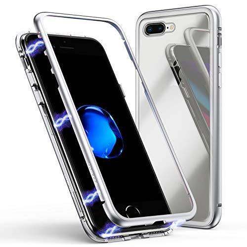 iPhone 7/8 Hülle, ZHIKE Magnetische Adsorption Handyhülle Ultra Dünn Metallrahmen Hartglas mit eingebautem Magnetklappdeckel( Transparent Silber)
