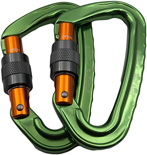 ElliotSt Schraubkarabiner Silver Screw: (Karabiner, Bruchlast längs 27 kN), Anzahl:einzeln grün-orange