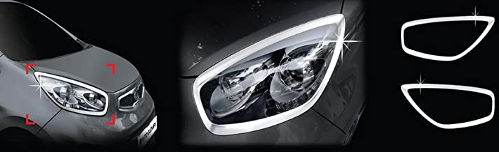 AUTOCLOVER B716 Front Chrome Exterior Head Light Lamp Cover Molding Trim 2-pc Set For 2011 2012 2013 Kia Picanto : New Morning