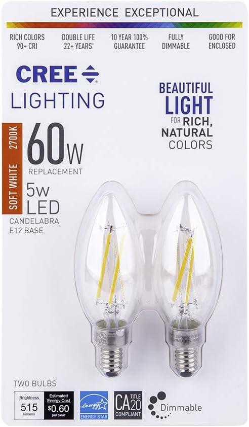 Large discharge sale Cree Lighting B11 Clear Glass Elegant Equivalent Candelabra Filament 60W