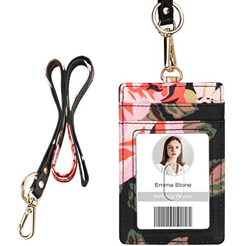 ID Badge Holder with Lanyard, Vertical Flower ID Badge Card Holder with 1 Clear ID Window, 4 Credit Card Slots and a Detachable Neck Lanyard (Floral Pattern 1)