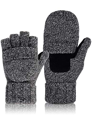 Petrunup Warme Halbfinger Wolle Handschuhe Cabrio Fingerlose Fleece Fäustlinge Männer Frauen Dunkelgrau