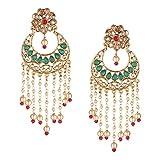 Efulgenz Indian Bollywood Traditional Wedding Crystal Pearl Tassel Chandelier Chandbali Earrings Jewelry Set