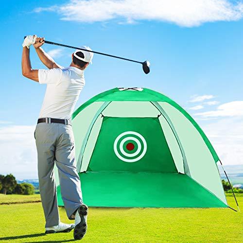 LUVODI - Rete da golf pieghevole da 3 m, portatile, portatile, per uso interno, esterno, attrezzatura da golf, per allenamento e allenamento, con borsa per il trasporto e bersaglio (verde)