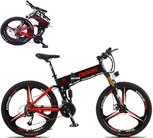 RDJM Ebikes, 26-In Folding Electric Bike for Adult with 250W36V8A Lithium Battery 27-Speed Aluminum Alloy Cross-Country E-Bike with LCD Display Load 150 Kg Electric Bicycle with Double Disc Brake