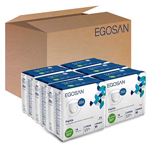 EGOSAN Super Incontinence Adult Pull Up Underwear (with Stretchable Waistband) - New and Improved - Maximum Absorbency for Active Men and Women (Large Case, 84-Count) - Packaging May Vary