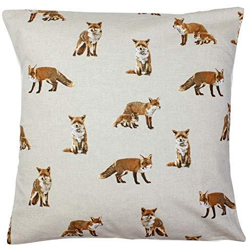 Harrison Cropper Fox & Fox Cub Cushion Cover (18x18, Cream Envelope Back)