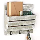 Wall Mount Mail sorter Organizer,Entryway Mail Envelope Storage,Wooden Letter Magazine Coats Organizer with 3 Key Hook,Wall Mail Holder,Dog Leash Hanging, Cap Rack,Floating Shelf,Country Rustic