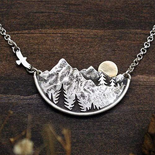 Collar de Moda Adventure Awaits Mountain Landscape Collar Gold Flying Sun Pájaro y alfileres de Solapa Collares Pendientes Mujeres Joyería de Moda Collar Colgante Cadena para Mujeres Hombres