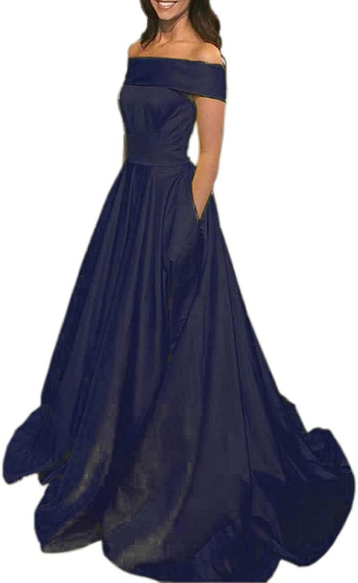 Mauwey Women's Off Shoulder Max All stores are sold 40% OFF Long Formal A-Line Satin Dresse Prom