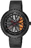 ZFAYFMA Herrenuhr, Hohldesign Quarz wasserdichte Sportwagenuhr Edelstahl 3D Rim Hub Uhr Geschenkuhrgeschwindigkeitsgeschwindigkeit Black