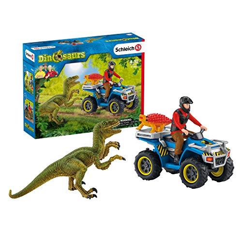 Schleich 41466 Dinosaurs Spielset - Flucht auf Quad vor Velociraptor, Spielzeug ab 5 Jahren