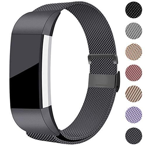 Hamily Kompatibel für Fitbit Charge 2 Armband, Metall Armband, Edelstahl Sport Ersatzarmband für Fitbit Charge 2 Fitness Tracker, Klein Platz Grau