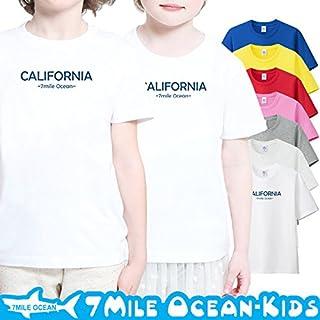 7MILE OCEAN 半袖 プリント キッズ ガールズ 子供服 男の子 女の子 ジュニア カリフォルニア USA ロゴ 90 100 110 120 130 140 150 160 ペアルック 150 PINK gsvmkids0138