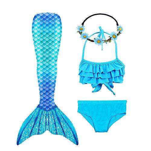 Galldeals - Costume da bagno a forma di coda di sirena con coda di sirena, per bambini e ragazze (monopinna non inclusa) Azzurro 5-6 Anni