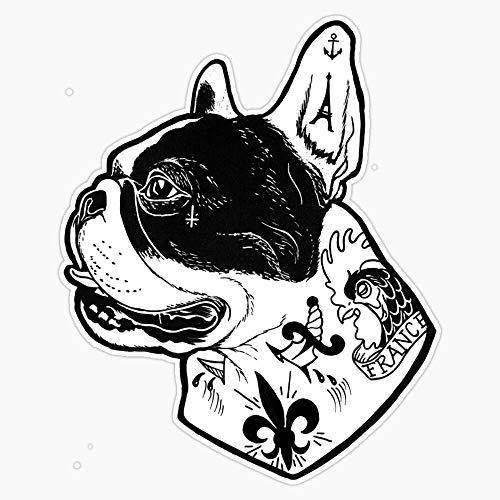 Tattooed French Bulldog Sticker Vinyl Waterproof Sticker Decal Car Laptop Wall Window Bumper Sticker 5'