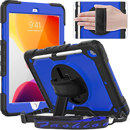 timecity iPad 10.2 Case 2019, iPad 7th Generation Case with Pencil Holder, 360° Rotatable Stand with Hand Strap Shoulder Strap, Built-in Screen Protector Schockproof iPad 7 Generation Case, Dark Blue
