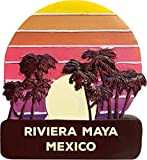 Riviera Maya Mexico Trendy Souvenir Hand Painted Resin Refrigerator Magnet Sunset and Palm Trees Design 3-Inch Approximately