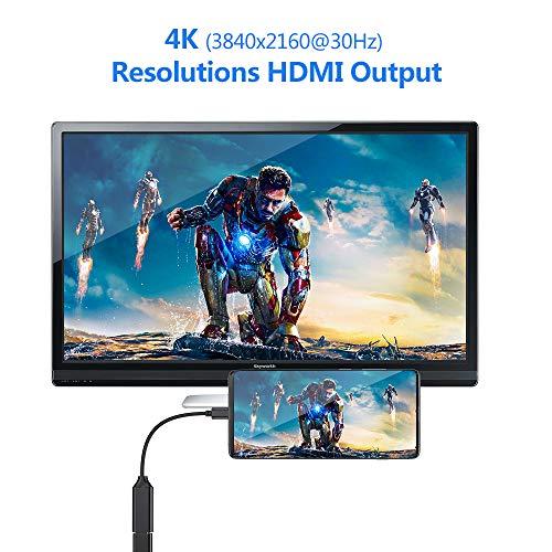USB C auf HDMI Adapter, Type c zu HDMI 4K Adapter (Thunderbolt 3 kompatibel) für MacBook Pro 2018/2017, iPad Pro 2018, Samsung Note 9/S9/S10, Huawei Mate 20/P20 und mehr (Black)
