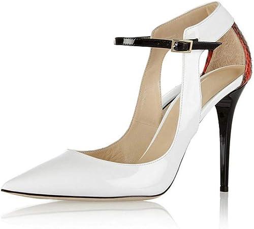 TYXWF Sandalias de tacón Alto del talón del Dedo del pie Puntiagudo de la Moda de Las mujeres Simples Sandalias de tacón de Aguja Vestido de Fiesta Corte zapatos,blanco,43