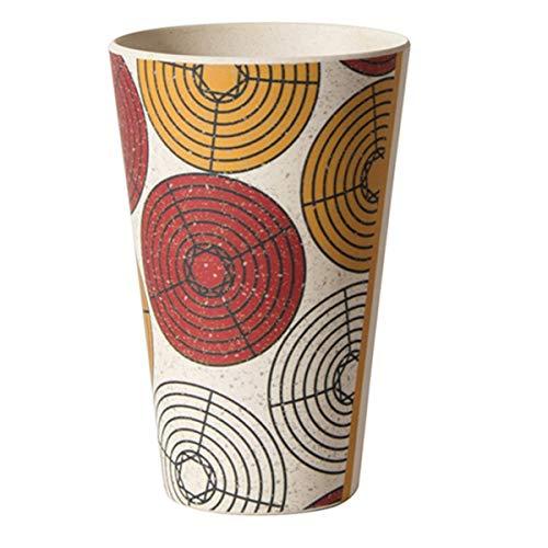 Les Trésors De Lily [Q7754 - Gobelet Verre Bambou 'Katmandou' Rouge Orange Beige - 13x8 cm (435 ML)