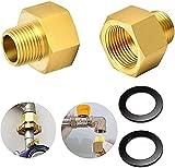 Shengruili 2 Stücke Gas Adapter set,Gas Adapter,Gasschlauch Verbinder,1/2' Zoll IG x 1/4' Zoll AG,aus Messing Gasherd Adapter Set,Adapter Gasherd,für Gasherd oder Kochfeld