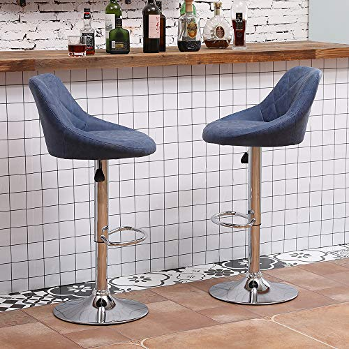 Set of 2 Bar Stools Chairs Matt Blue Spoon Shape for Breakfast Counter Height with Back and Footrest, Pub Swivel Kitchen Stool Adjustable Gas Lift Metal Legs for Home Indoor
