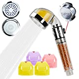 Vitamin C Filter Shower Head with Replacement Filters - Chlorine & Flouride Filter - Universal Shower System&High-Pressure Filter Handheld Shower for Repair Dry Skin and Hair Loss (Transparent)
