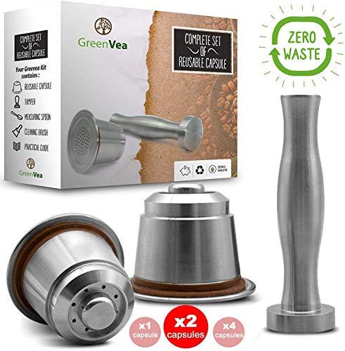 Greenvea - Komplettes Set von 2 wiederbefüllbaren und wiederverwendbaren Nespresso-Kaffeekapseln. Nachfüllbare Kaffee- und Teekapsel aus Edelstahl. (2 Kapseln, Tamper, Guide, Dosierlöffel & Bürste)