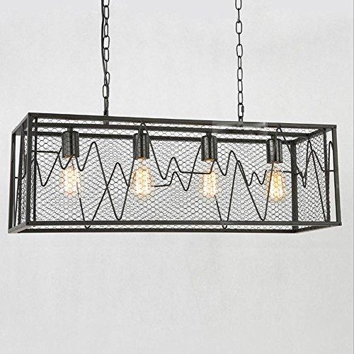 Zeitgenössische Industriell Pendelleuchte Jahrgang EKG Netto Design Pendellampe Personalisierte Bar Hängeleuchte Kreative Loft Hängelampe Eisen Cube Fisch Kronleuchter Retro Edison Lampe E27 * 4