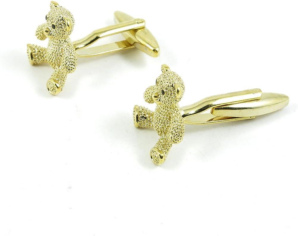 Cufflinks Cuff Links Fashion Mens Boys Jewelry Wedding Party Favors Gift BJE042 Golden Teddy Bear Crystal