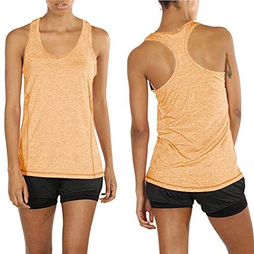 Akaide Tanktop für Frauen, Sportbekleidung, Laufen, Workouts, Yoga, Sport, ärmellos, atmungsaktiv, lockere Schultern, Weste, Shirt, Bluse Gr. XXL, gelb