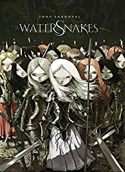 Watersnakes cover with girls dressed in armour and holding swords