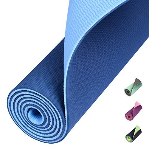 Amazon Brand – Eono TPE Yogamatte rutschfest Gymnastikmatte Pilates Matte Sportmatte Fitnessmatte Jogamatte Blau
