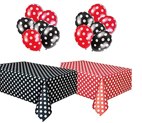 Polka Dot Party Set, Includes 1 Red Tablecloth, 1 Black Tablecloth, 6 Red Balloons and 6 Black Balloons.